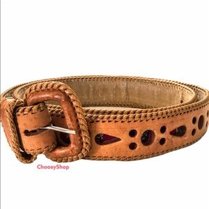 Cut Out Belt Colorful Tapestry & Tan Leather